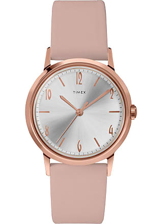 Timex Watch Womens Marlin Hand-Wound 34MM Leather Strap Rose Gold-Tone/pink/silver-Tone Item Tw2U03200Zv