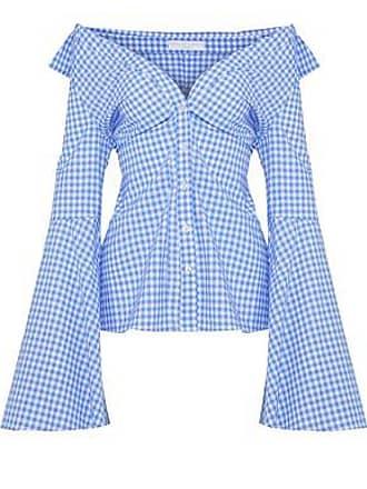 Caroline Constas Caroline Constas Woman Persephone Off-the-shoulder Gingham Cotton-poplin Top Light Blue Size S