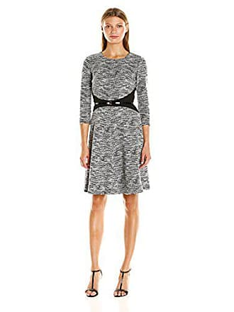 4d2f933e21bcfd Calvin Klein Womens 3/4 Sleeve Fit and Flare Dress with Belt at Waist,