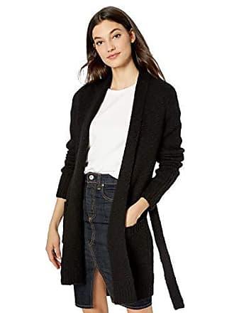 Kensie Womens Belted Cardigan, Black, M