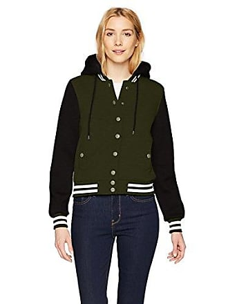 Yoki Womens Scuba Bomber with Hood and Snap Closure, Olive Large