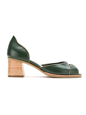 Sarah Chofakian Sapato de couro com recortes - Verde