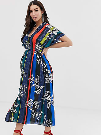 Queen Bee wrap front maxi dress with thigh split in contrast floral stripe print - Multi