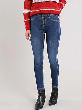 Sawary Calça Jeans Feminina Sawary Cigarrete Cintura Média Azul Escuro