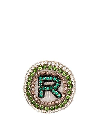 Rochas R Logo Crystal Embellished Brooch - Womens - Green
