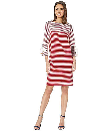36d38341d969 Ralph Lauren Striped Cotton Dress (Lipstick Red Multi) Womens Clothing