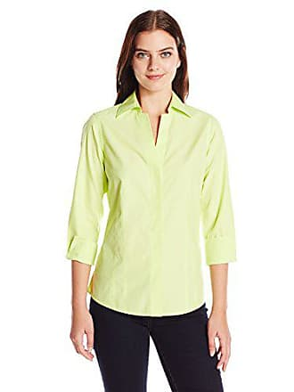 ae9ce9144294a5 Foxcroft Womens Petite Size 3/4 Sleeve Taylor Essential Non Iron Shirt,  Honeydew,