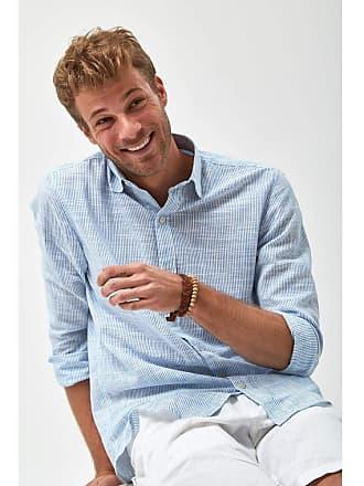 Zapalla Camisa Listrada Leve - Azul Claro e Branco - Tamanho M