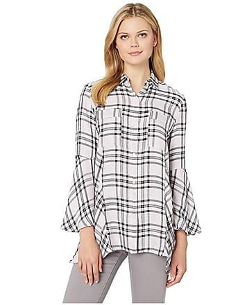 Jones New York Handkerchief Hem Button Down Shirt (Pink Combo) Womens Blouse