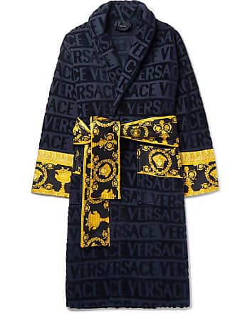 07fc967980e057 Versace Satin-trimmed Logo-jacquard Cotton-terry Robe - Blue
