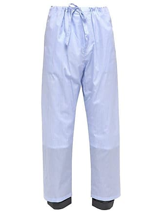 Y / Project Y/project - Pinstripe Wool Cuff Cotton Trousers - Mens - Blue