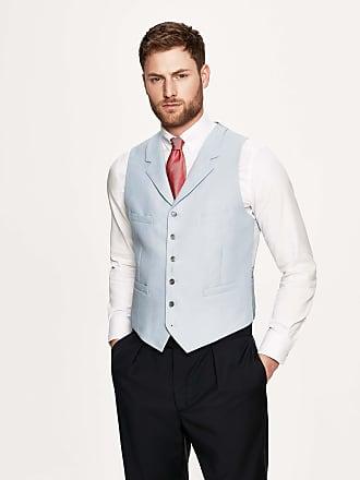 Hackett Mens Linen Single-Breasted Waistcoat | Size 44Regular | Buff Cream
