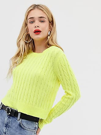 Stradivarius fluro cable knitted jumper in yellow
