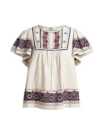 Sea New York Leah Embroidered Puff Sleeve Top White