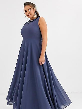 Asos Curve ASOS DESIGN Curve maxi dress with 3D floral embellished neckline-Blue