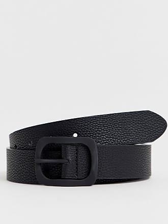 c6473996b84fc6 Asos Breiter Gürtel aus schwarzem Kunstleder mit genarbter Oberfläche und  mattschwarzer Schnalle - Schwarz