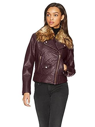 Andrew Marc Womens Beverly Vegan Bubble Leather Jacket, Burgundy, Small