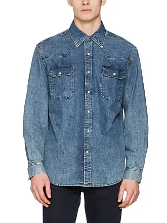 be25ce21f7e Calvin Klein Jeans Mens Archive Western - Soho Blue Casual Shirt