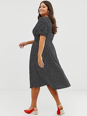 a051703f5dbea9 Asos Curve ASOS DESIGN Curve button through midi tea dress with shirred  waist in spot print