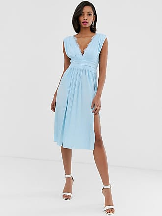 6b229869597 Asos Premium Lace Insert Pleated Midi Dress - Blue