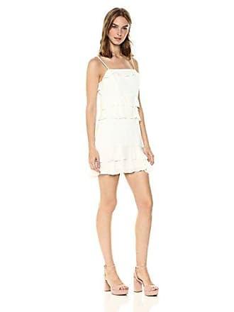 Parker Womens Kristie Spaghetti Strap Ruffle Short Dress, Pearl, 6