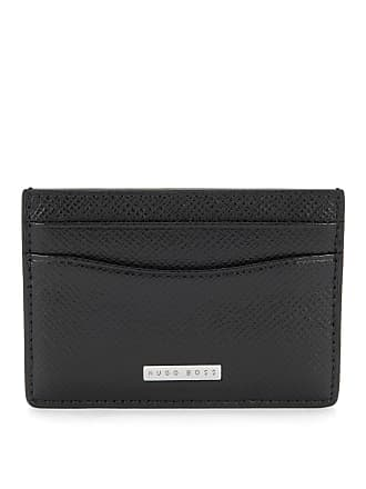BOSS Signature Collection card holder in grained palmellato leather