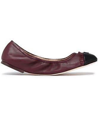 a8e985596 Tory Burch Tory Burch Woman Ruffle-trimmed Leather Ballet Flats Burgundy  Size 6.5