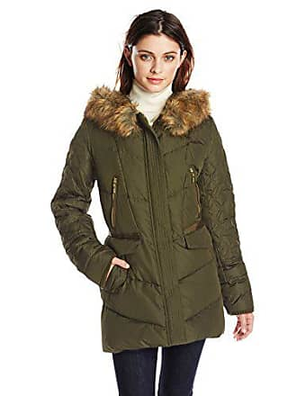 Kensie Womens Diamond-Quilted Down Coat with Faux Fur Hood, Olive, X-Large