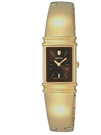 Seiko womens sujg12 jewelry gold-tone brown dial bangle watch