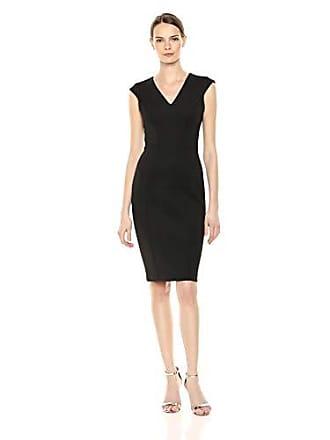 Calvin Klein Womens Cap Sleeve V Neck Sheath with Seam Detail Dress, Black, 12