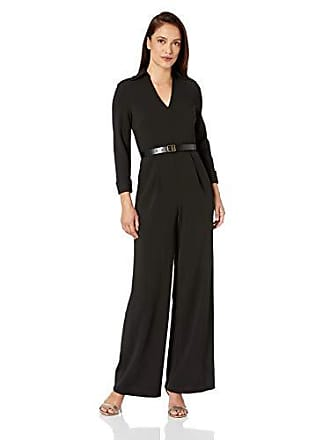 Calvin Klein Womens Belted Jumpsuit with V Neck Collar, Black 8