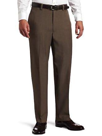 Haggar Mens Repreve Stripe Plain Front Dress Pant,Brown,36 / 30