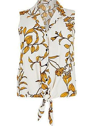 River Island Womens Plus cream floral tie front shirt