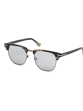 06d3b292e8f Tom Ford Mens Tom N.17 Half-Rim Horn Sunglasses with Photochromic Mirror  Lenses