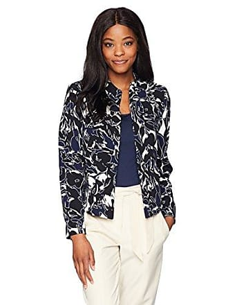 Kasper Womens Abstract Printed Crepe Flyaway Jacket, Indigo Multi 8