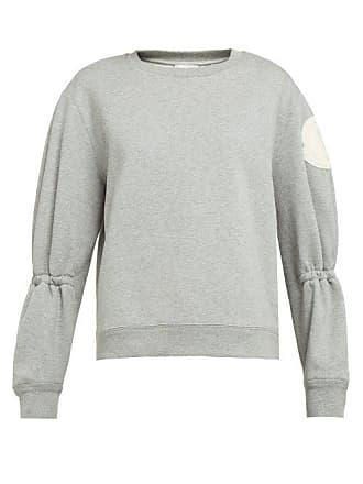 a38ecb5c4958cf Moncler Gathered Sleeve Cotton Blend Jersey Sweatshirt - Womens - Light Grey