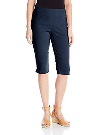 Ruby Rd. Womens Petite Pull-On Faux Fly Super Stretch Solar Millennium Tech Clamdigger, Navy, 18W