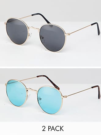 465f18a82f Asos 2er Packung runde Sonnenbrille in Gold mit braunen und türkisfarbenen  Gläsern - JETZT SPAREN -