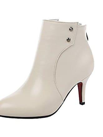 9859f7b9d11920 Mee Shoes Damen Modern Elegant mit Kurzem Flaum Reißverschluss  Trichterabsatz Knöchelstiefel (34