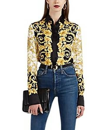 8738b3c196cf8f Versace Womens Hibiscus-Print Silk Blouse Size 40 IT