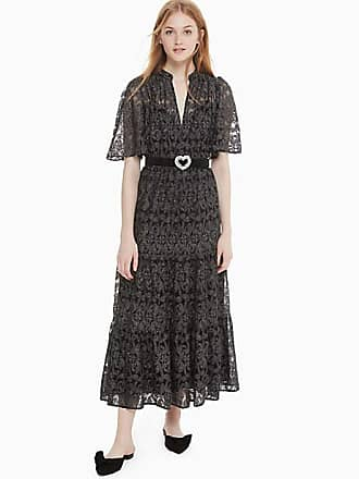 Kate Spade New York Metallic Embroidery Midi Dress, Black - Size 4