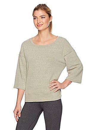 Danskin Womens Lounge Wide-Neck Pullover, Olive Heather, XL