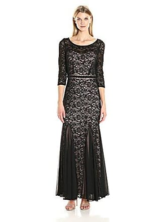Alex Evenings Womens Long V-Neck Fit and Flare Dress Lace, Black and Nude, 12