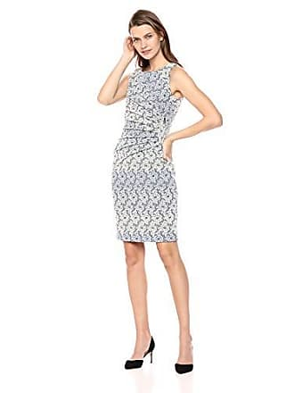 Ivanka Trump Womens Scuba Sleeveless Side Ruched Starburst Dress, Blue/Ivy, 2