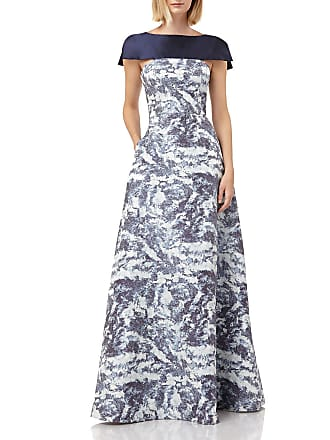 38677ea15a1 Kay Unger Boat-Neck Printed Jacquard Gown with Faux Capelet   Pockets