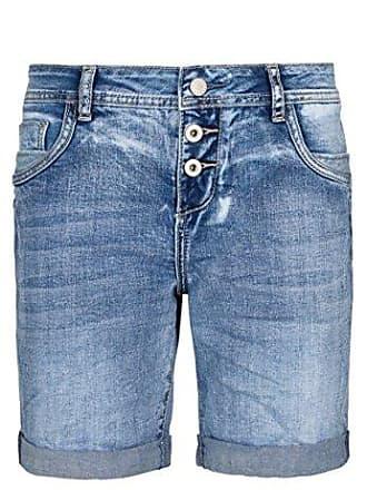 6d0120bfb6743c Sublevel Damen Denim Bermuda-Shorts mit Aufschlag | Bequeme Kurze Hose im Used  Look Light