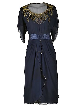 edf18424605cb Zandra Rhodes. Hand Beaded And Hand Painted Navy Silk Chiffon Dress