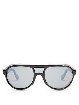 0666198458 Moncler D Frame Acetate Sunglasses - Mens - Black