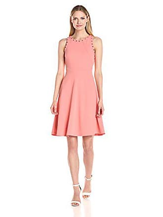 Ivanka Trump Womens Scuba Dress with Grommets, Coral, 2