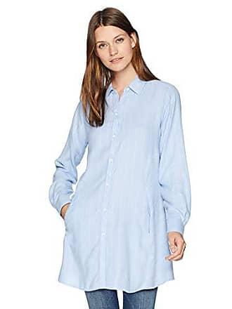 Foxcroft Womens Cici Brushed Herringbone Stripe Tunic, Blue Sky, 18